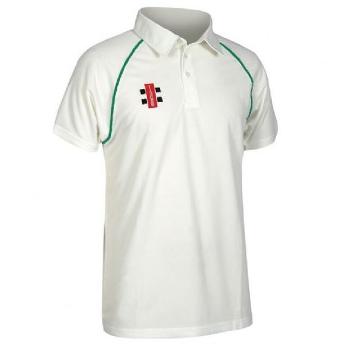Gray Nicolls Matrix Short  Sleeve Shirt Ivory/Bottle Green Junior